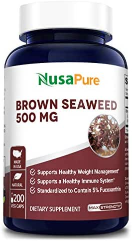 Brown Seaweed Extract 500mg 200 Veggie Capsules (Non-GMO & Gluten Free) - Fucoidan - Natural Dietary Supplement for Weight Loss & for Boosting Your Immune System