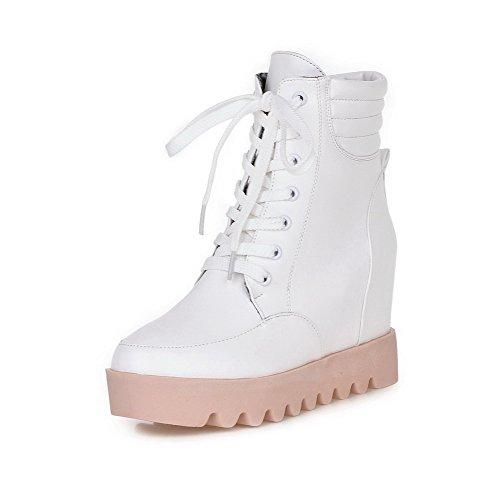 AllhqFashion Damen Gemischte Farbe Hoher Absatz Rund Zehe PU Schnüren Stiefel, Weiß, 33