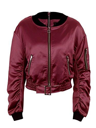 courte satin matelass Wine vtements ferme les simplee d'aviateur femmes de veste veste manteau motard Eqnzg0