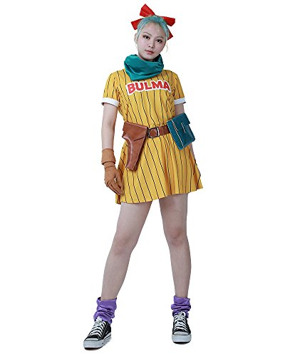 Cosplay.fm Women's Bulma Cosplay Costume Yellow Dress with Scarf and Belt