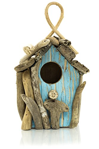Nautical Birdhouse | Natural Driftwood Birdhouse Display | 5'' x 8'' Decorative Thatched Roof Birdhouse | Collector Shell | Nautical Crush TradingTM by Nautical Crush Trading