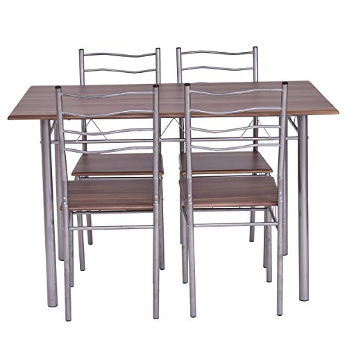 Giantex Modern 5 Piece Dining Table Set with 4 Chairs Metal Frame Wood Like Kitchen Furniture Rectangular Table & Chair Sets for Dining Room (Shallow Walnut) by Giantex (Image #7)