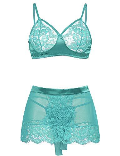 Avidlove Women Lingerie Sets 2 Piece Lace Babydoll Bra and Mini Skirt Sets Mini Sleepwear Sapphire M ()