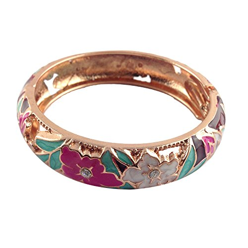 Hollow Hinged Bangle (UJOY Hollow Carved Cloisonne Bracelet Alloy Spring Hinged Jewelry Bangle Gift Box 88A12 white-red)