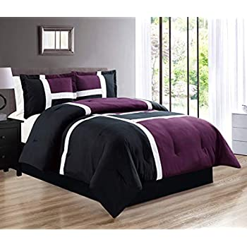 4-Piece All-Season Down Alternative Quilted Patchwork FULL Size Comforter Set- Hypoallergenic Summer Cooling Ultra Soft Bedding- Plush Microfiber Fill - Machine Washable (Purple, Black, White)
