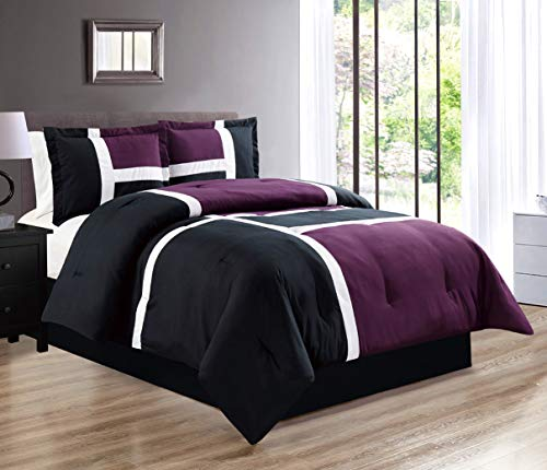 4-Piece All-Season Down Alternative Quilted Patchwork FULL Size Comforter Set- Hypoallergenic Summer Cooling Ultra Soft Bedding- Plush Microfiber Fill - Machine Washable (Purple, Black, White) (White Bedding Black Purple And)