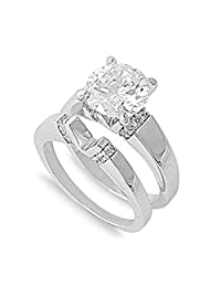 Sterling Silver Custom Engagement Ring Wedding Band Bridal Set Sizes 5-10