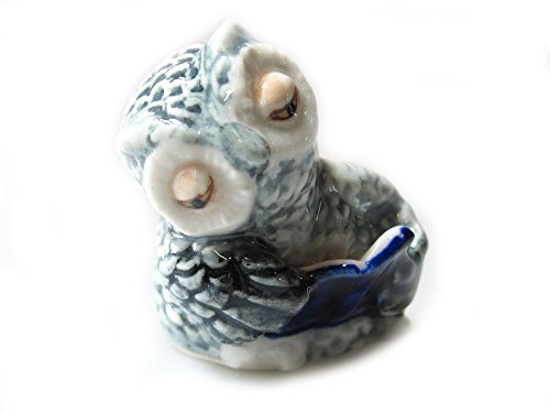 Animal Miniature Handmade Porcelain Statue Gray Owl Reading Book Figurine Collectibles Gift ()