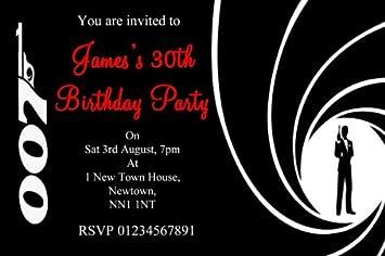 10 x Personalised James Bond Party Invitations Amazoncouk Toys