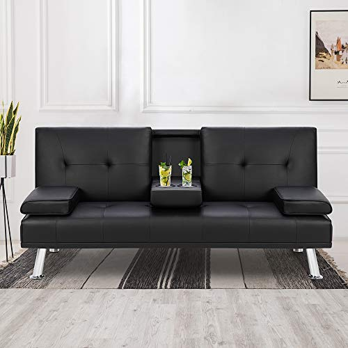 Shintenchi Modern Faux Leather Futon Sofa Bed, Convertible Folding Couch Sleeper for Living Room with Removable Armrests…
