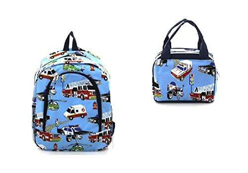 N.Gil School Boys Backpack Lunch Box Set (Firetruck/motor...