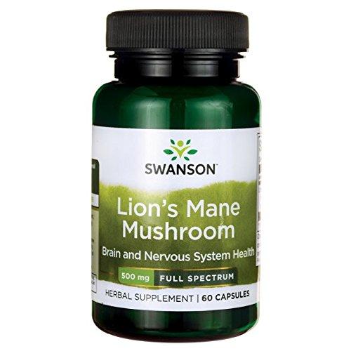 Swanson Lion's Mane Mushroom Memory Support Mental Focus Brain Booster Herbal Supplement Hericium Erinaceus (mycelium biomass) 500 mg 60 Capsules