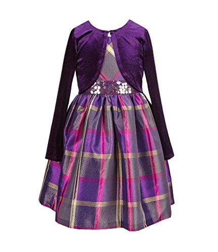 Price comparison product image Bonnie Jean Little Girls Sequin Waist Plaid Dress With Cardigan (5)