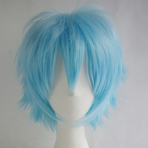 S-noilite Unisex Cosplay Short Pixie Fluffy Straight Hair Wig Women Men Anime Party Dress Costume Hairstyle Synthetic Wigs Light Blue]()