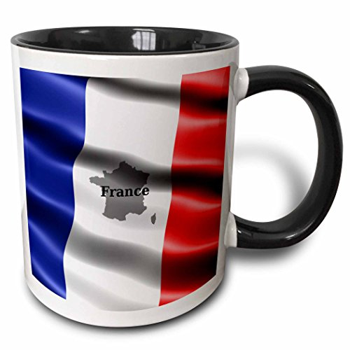 (3dRose Edmond Hogge Jr – Flags - French Flag Design - 11oz Two-Tone Black Mug (mug_204483_4))