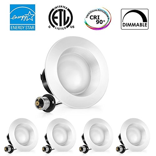 ALEXFIRST 4inch Dimmable LED Downlight, ENERGY STAR, 11W (100W Replacement), 4000K (Natural White), CRI90+, Retrofit LED Recessed Lighting Fixture,LED Ceiling Light, (4-Pack)