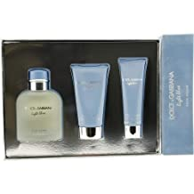 Dolce and Gabbana Light Blue for Men-3 Pc Gift Set 4.2-Ounce EDT Spray, 2.5-Ounce After Shave Balm, 1.6-Ounce Shower Gel