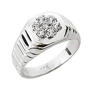 Men's 14k White Gold 7-Stone Diamond Cluster Ring Amazon.com