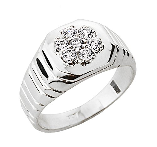 Men's 14k White Gold 7-Stone Diamond Cluster Ring (Size 6.5)