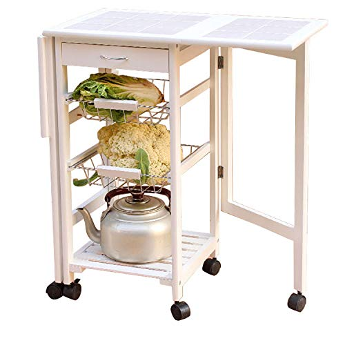 Cheap feelfly Portable Folding Kitchen Rolling Tile Top Drop Leaf Storage Trolley Cart (White)