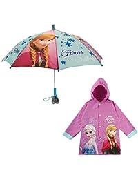 Girls' Little Elsa and Anna Slicker and Umbrella Rain-wear Set, Frozen Purple, Age 6-7