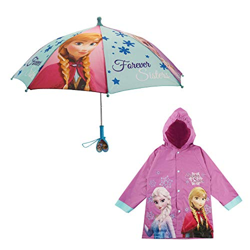 Disney Girls' Little Elsa and Anna Slicker and Umbrella Rain-wear Set, Frozen Purple, Age 6-7