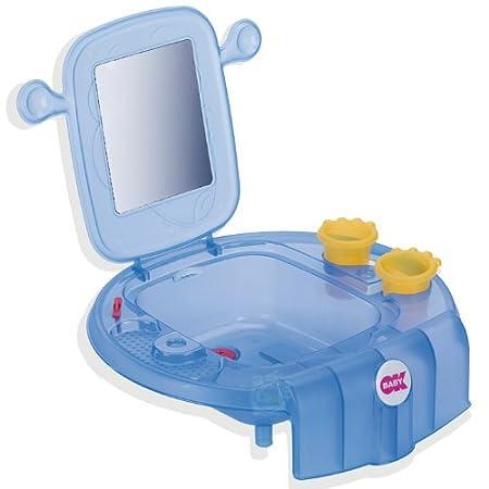 OkBaby Kinderwaschbecken Mini Waschbecken Space mit Spiegel Zahnbutzbecher und Handtuchhalter coral