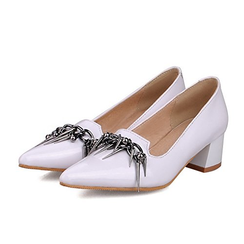 Kitten Closed On Solid Toe Shoes Pointed Women's WeiPoot White Leather Pumps Patent Heels Pull 5x6XpnA
