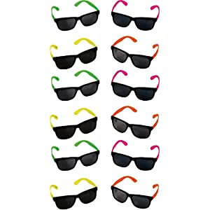 Neon Sunglasses - 12 Pack Green, Orange, Yellow And Pink, Gift, Party Favors, Toys, Goody Bag Favors, Fun For Kids - By Kidsco