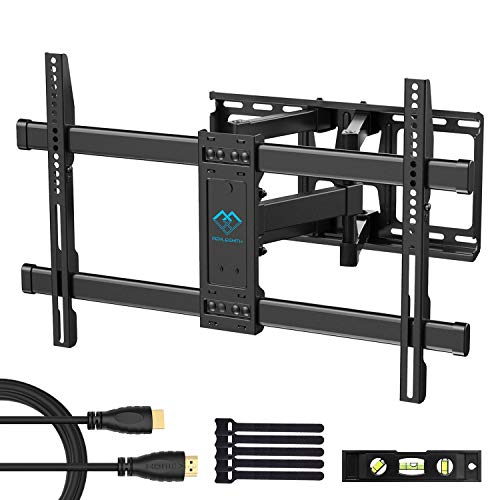 PERLESMITH Full Motion TV Wall Mount Bracket Dual Articulating Arms Bear up to 132lbs for Most 37-70 inch TV with Tilt, Swivel, Rotation fit LED, LCD, OLED, Plasma Flat Screen -