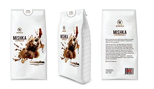 Mishka Medium Roast Espresso Blend. Whole Beans. 12oz valve bag.