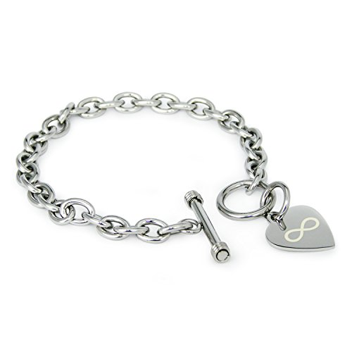 Tioneer Stainless Steel Infinity Symbol Engraved Heart Tag Charm Bracelet ()