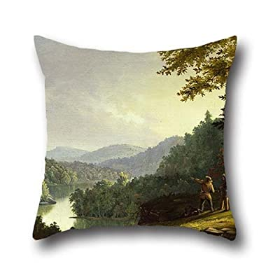 Throw Pillow Case Of Oil Painting James Pierce Barton - Kentucky Landscape - 1832,for Boys,shop,deck Chair,home Office,office,lover 20 X 20 Inch / 50 By 50 Cm(2 Sides)