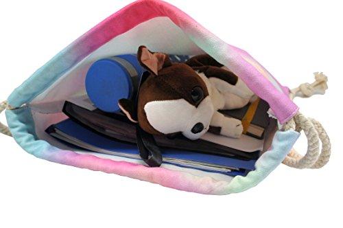 Artone Universo Lona Con Cordón Bolso Viajar Daypack Deportes Portátil Mochila Azul del color del caramelo