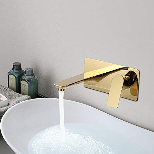 Bathroom Sink Faucet Wall-Mounted Brass Single Hole Waterfall Sink - Washbasin Tap Kitchen Waterfall Mixer Ta White/Gold/Black ()