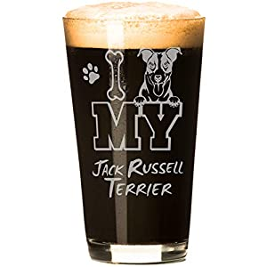 I Love My Jack Russell Terrier 16 oz Beer Pint Glass (1 Glass) 5