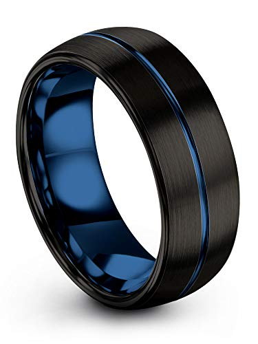 (Chroma Color Collection Tungsten Carbide Wedding Band Ring 8mm for Men Women Blue Interior with Blue Center Line Dome Black Grey Brushed Polished Comfort Fit Anniversary Size 7)