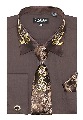 Paisley On Collar Regular Fit Dress Shirts with Metal Fabric Tie Hanky Cufflinks Combo Brown ()