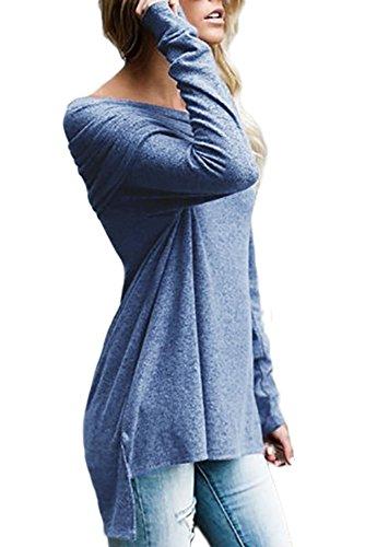 Neuf Bleu froncée Off épaule à manches longues Pull Chemisier de soirée pour femme Tenue décontractée d'été Taille UK 12EU 40
