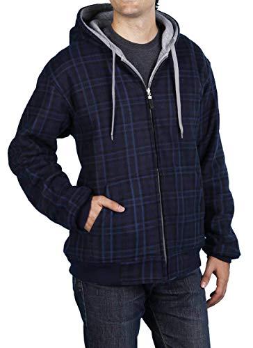 Woodland Supply Co. Men's Reversible Fleece Zip Up Hoodie (XX-Large, Heather Grey/Blue) ()