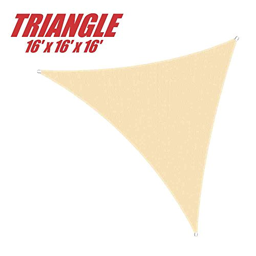 ColourTree 16' x 16' x 16' Sun Shade Sail Canopy Triangle Beige - Commercial Standard Heavy Duty - 160 GSM - 4 Years Warranty