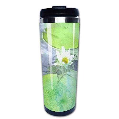 Portable Stainless Steel Insulated Coffee Travel Cup Mug,watercolor white water lilyleak-proof flip cover keeps hot or cold 13.6 oz (400 -