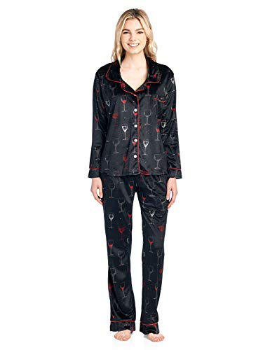 Ashford & Brooks Women's Long Sleeve Minky Micro Fleece Pajama Set- Black/Wine- 2X