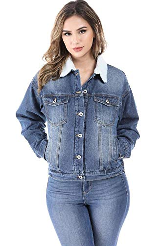 (Salt Tree Women's Button Front Washed Out Sherpa Lined Denim Jacket - Blue,Medium)