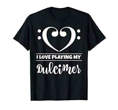 Bass Clef Musical Heart I Love Playing My Dulcimer Musician T-Shirt