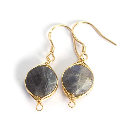 Scutum Craft Natural Stone Dangle Drop Earrings with Gold Plated Wire Wrap and 925 Sterling Silver Hook Jewelry for Women (Labradorite Round Cut 10mm)