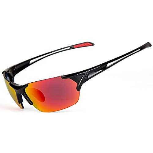 Shieldo Polarized Sports Sunglasses For Men And Women Running Cycling Fishing, Mirrored Integrated Polarized Lens Unbreakable Frame SLY002 (Black-Red) - Bicycle Snow Chains