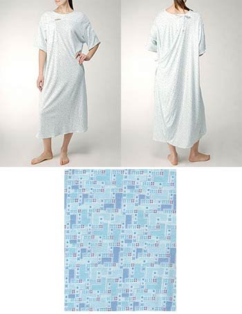 Karen Neuburger IV Gown with Ties - White and Blue Prints-3X - Pack of 3