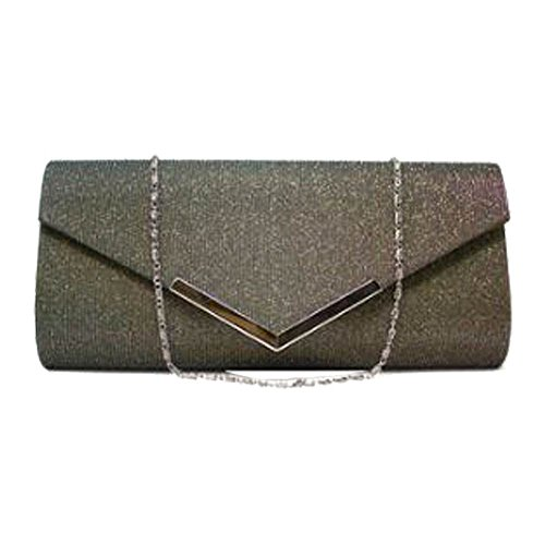 NEU Glitzer Schimmer metallisch Trimm Damen Abend Ball Geldbörse Clutch Tasche - Silbern, Medium grau & grün