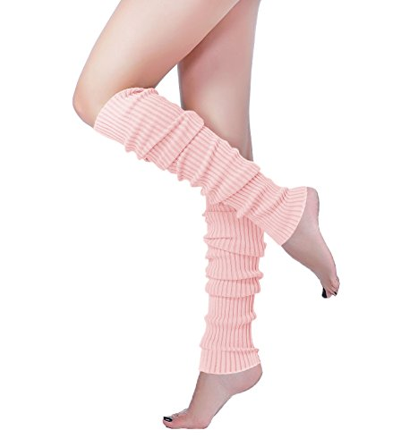 (Long Leg Warmer, V28 Women's Men 80s Party Ribbed Knit Dance Sports (61Pink))